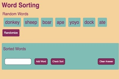 Word Sorting Game (Sort Alphabetically)