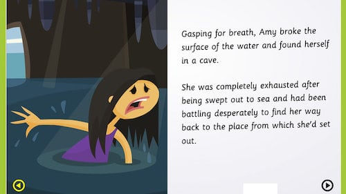 Learn Adjectives and Nouns and verbs in this  Sea and Cave Game