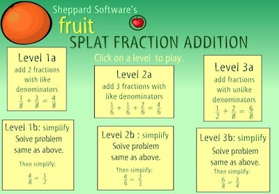 Fraction Addition (Splat Fruit)