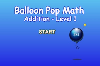 Balloon Pop Math - Addition - Level 1