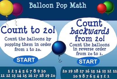 1-20 Normal and Reverse Counting in Balloon Pop
