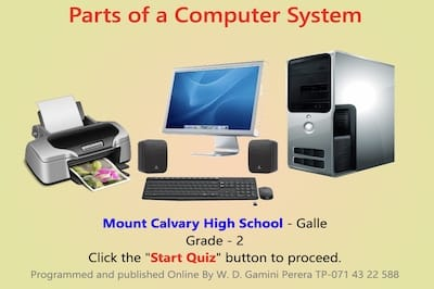Quiz About Computer System Parts: Grade 2