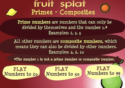 Primes and Composite Numbers Fruit Splat game