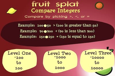 Compare Integers Game in this Fruit Splat Game