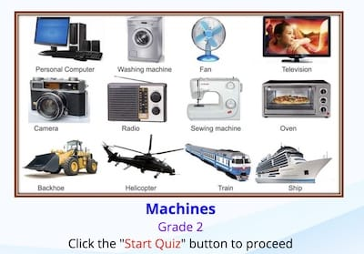 Game about Identifying Machine  for Grade 2